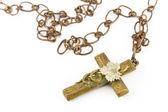 Or croix chrétienne avec chaîne — Photo