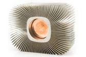 Old aluminum cpu cooler heat sink — Stock Photo