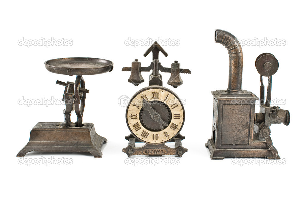 Three antique objects isolated on white  Stock Photo #11594618
