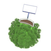 Plot of land fenced on a small green planet. Advertising stand next to the fence — Stock Photo