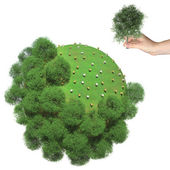 Deforestation on the little green planet. Human hand holds cut tree — Stock Photo