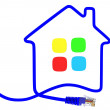 Network cable in the form of the house — Stock Photo