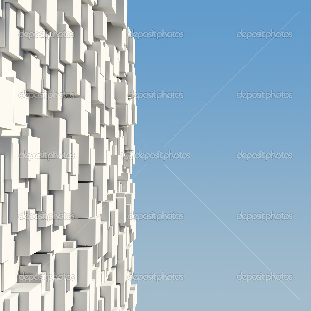 Wall of white cubes against the blue sky — Stock Photo #11374422