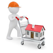 A white man in a helmet and a house on the trolley — Stock Photo