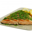 Salmon fish fillet grilled with green vegetables and lemon — Stock Photo #11174440