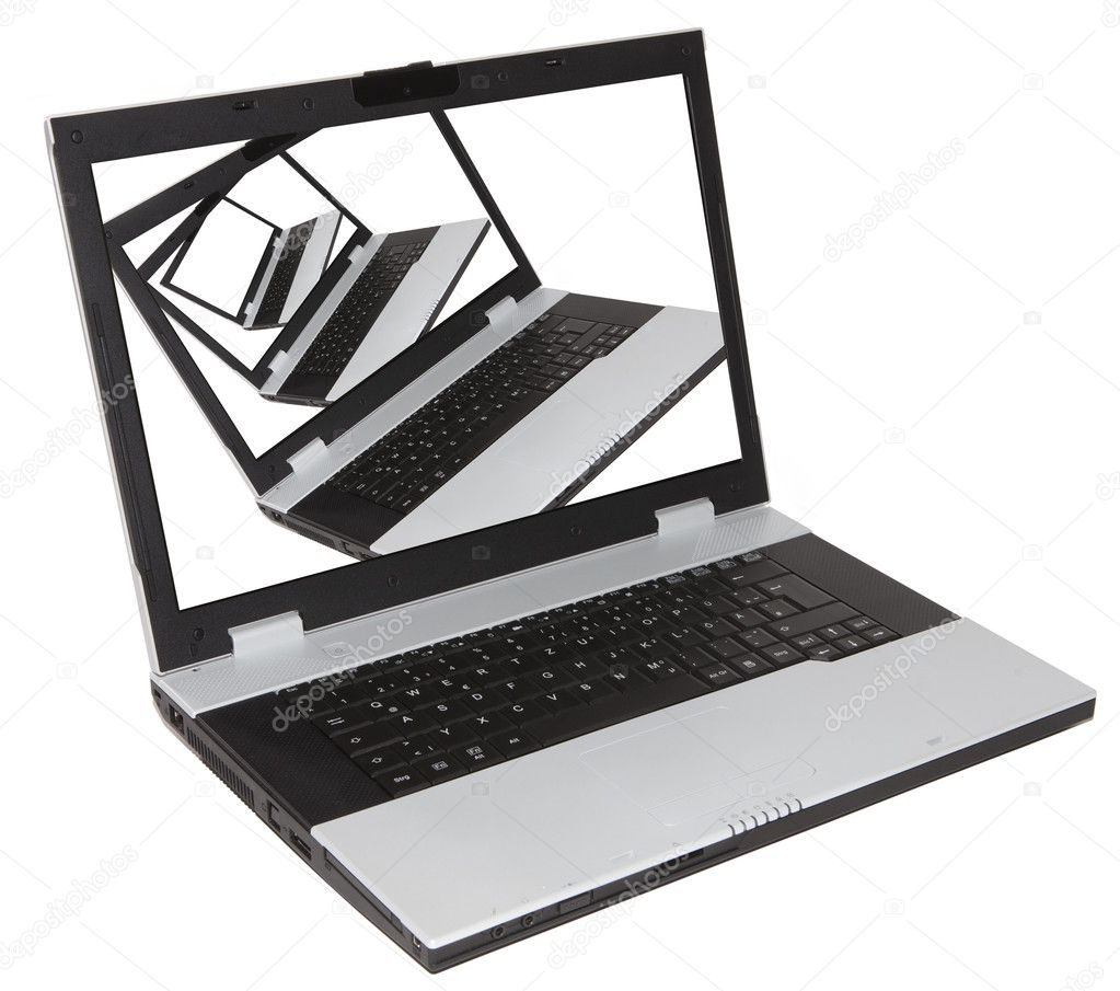 Notebook on screen of  a notebook over white background — Stock Photo #10852127