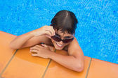 Taking sunbath by the pool — Stock Photo