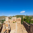 Alcazaba fortress in  Alhambra, Granada, SPain - Stock Photo