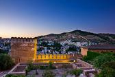 Alhambra and Granada at night, Spain — Stock Photo