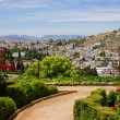 Stock Photo: Generalife gardens and city of Granada, Spain