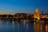 Cityscape of Seville at night, Spain — Stock Photo
