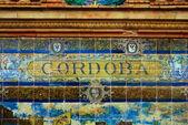 モザイクの壁を越えてコルドバ記号 — ストック写真