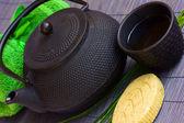 Asian tea set and spa settings — Stock Photo
