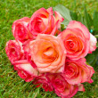 Round bouquet of pink  roses — Stock Photo