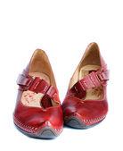 Vrouw rood lederen schoenen — Stockfoto