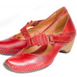 Woman red leather shoes — Stock Photo