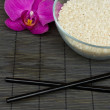 Stock Photo: Rice and chopsticks