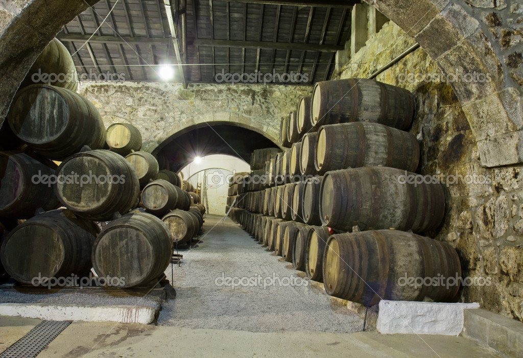 Old cellar with rows of wooden barrels — Stock Photo #12276974