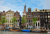 Medieval houses of Amsterdam, Netherlands — 图库照片