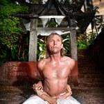 Yoga baddha padmasana — Stock Photo