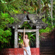 Yoga near temple in jungle — Stock Photo