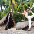 Yoga natarajasana dancer pose — Stock Photo