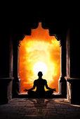 Yoga meditation in temple — Stock Photo
