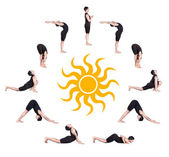 Surya namaskar sun salutation — Stock Photo