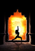 Yoga woman in temple — Stock Photo