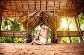 Yoga in Indian shala — Stock Photo