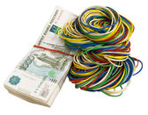 Russian rubles with elastic bands — Stock Photo