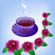 Tea from the hibiscus flowers - Stock Vector
