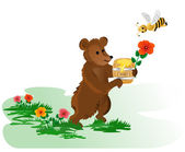 Bear with honey — Stock Vector