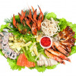Appetizer closeup of different seafood and vegetables — Stock Photo #11800625