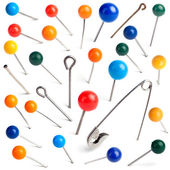 Collection of various pushpins on white background. — Stock Photo