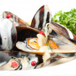 Cooked and prepared mussels ready to be eaten. — Stock Photo