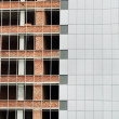 Stock Photo: Office building construction site. Thermal insulation of walls