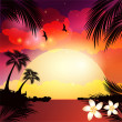 Stock Vector: Beach sunset