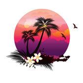 Tropical Island Illustration — Stock Vector