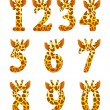 Stock Vector: Giraffe numeral set