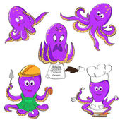 Set of octopuses — Stock Vector