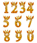 Giraffe numeral set — Stock Vector
