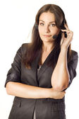 Woman operator with headset — Stock Photo