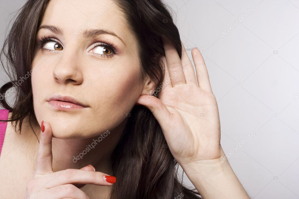 Pretty woman listening to gossip — Stock Photo #11932036