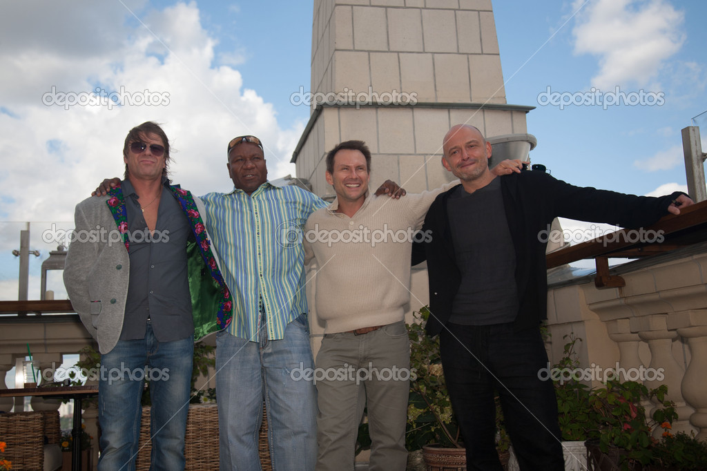 MOSCOW, RUSSIA, JULY, 18: Sean Bean, Christian Slater, V. Rhames and M. Korostishevsky. Premiere of the movie Soldiers of Fortune, July,18, 2012 at  UKRAINA HOTEL in Moscow, Russia  Stock Photo #12388916