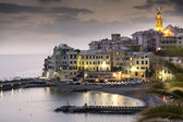 Overview of Bogliasco at sunset — Stock Photo