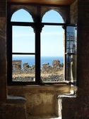 The landscape through a window of Taormina — Stock Photo