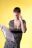 Beauty woman read smart book - pin-up style — Stock fotografie