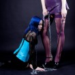 Two gothic girls play bdsm games — Stock Photo #11012015