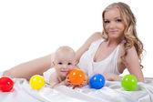 Moeder met baby bed inbegrepen — Stockfoto